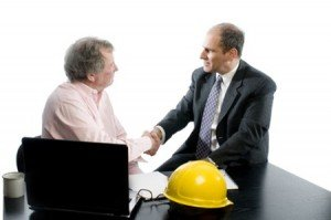 4477839 - business management senior executives client shaking hands in office retired older men architect builder construction designer client