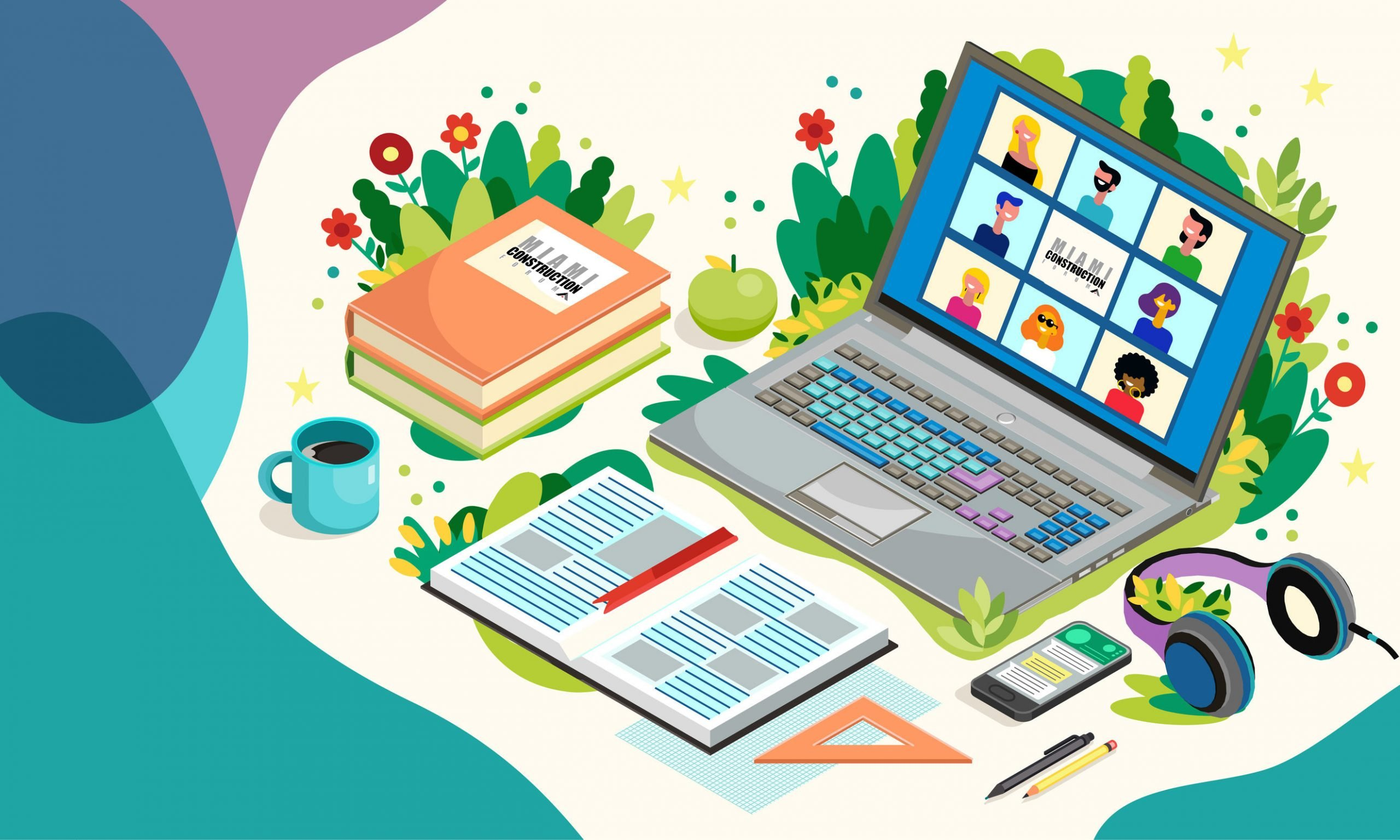 Online Education With Laptop And Pupils. Distance Learning. Vector Illustration. Teleconference Web Video Conference Call Miami Construction Forum
